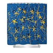 Yellow Blue Shower Curtain