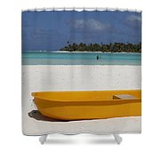 Yellow Boat In South Pacific Shower Curtain