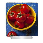 Yellow Bowl Of Tomatoes  Shower Curtain