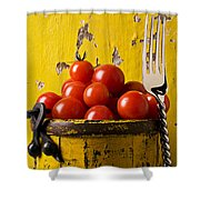 Yellow Bucket With Tomatoes Shower Curtain