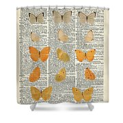 Yellow Butterflies Over Dictionary Book Page Shower Curtain