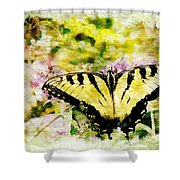 Yellow Butterfly Shower Curtain
