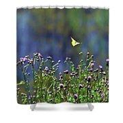 Yellow Butterfly Flyaway Shower Curtain
