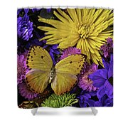 Yellow Butterfly On Bouquet Shower Curtain