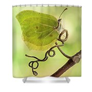 Yellow Butterfly On The Branch Shower Curtain