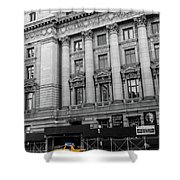 Yellow Cab By The Museum Of Natural History, New York Shower Curtain