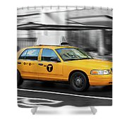 Yellow Cab In Manhattan In A Rainy Day. Shower Curtain
