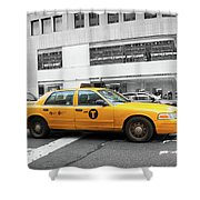 Yellow Cab In Manhattan With Black And White Background Shower Curtain