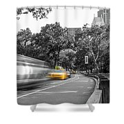 Yellow Cabs In Central Park, New York 3 Shower Curtain