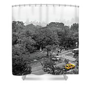 Yellow Cabs Near Central Park, New York Shower Curtain