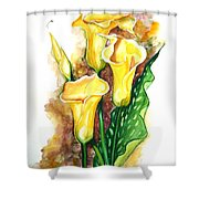 Yellow Callas Shower Curtain