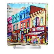 Yellow Car At The Smoked Meat Lineup Shower Curtain