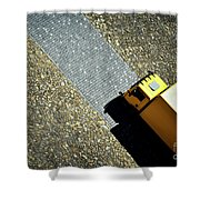 Yellow Car On The Stone Pavement Shower Curtain