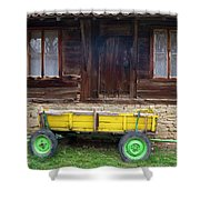 Yellow Cart And Green Wheels  Shower Curtain