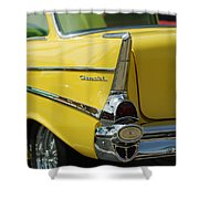 Yellow Chevrolet Tail Fin Shower Curtain