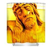 Yellow Christ #1 Shower Curtain