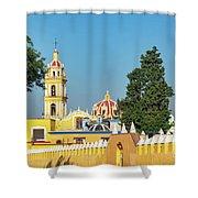 Yellow Church In Cholula, Mexico Shower Curtain