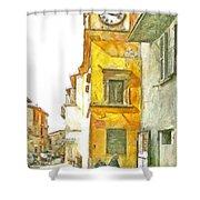 Yellow Clock Tower Shower Curtain