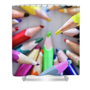Yellow. Colored Pencils Used By Children Shower Curtain
