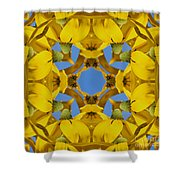 Yellow Coneflower Kaleidoscope Shower Curtain