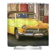 Yellow Convertible Mercury Shower Curtain