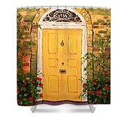 Yellow Cottage Door Shower Curtain