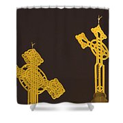 Yellow Crosses Shower Curtain