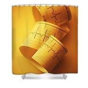 Yellow Ekg Shower Curtain