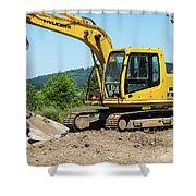 Yellow Excavator In Anacortes Shower Curtain