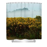 Yellow Field And The Fog Shower Curtain