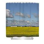 Yellow Fields And Blue Clouds Shower Curtain