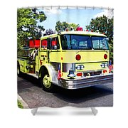 Yellow Fire Truck Shower Curtain