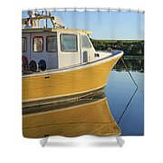 Yellow Fishing Boat Early Morning Shower Curtain