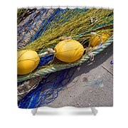 Yellow Floats Shower Curtain