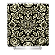 Yellow Floral Ornament Design Shower Curtain