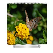Yellow Flower Brown Fly Shower Curtain