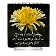 Yellow Flower With Inspirational Text Shower Curtain