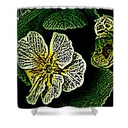 Yellow Flower Woodcut Shower Curtain