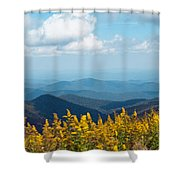 Yellow Flowers Along The Blue Ridge Mountains Shower Curtain by Kim Fearheiley