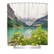 Yellow Flowers At Lake Louise Shower Curtain