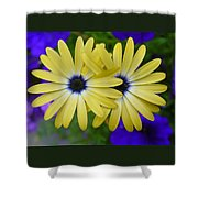 Yellow Flowers Embracing Shower Curtain