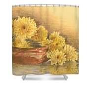Yellow Flowers With Still Life Shower Curtain