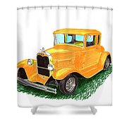 1932 Yellow Ford Hot Rod Coupe Shower Curtain