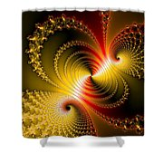 Yellow Gold Red Decorative Abstract Art Shower Curtain