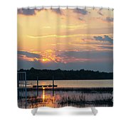 Yellow Gold Sunset Tapestry Shower Curtain