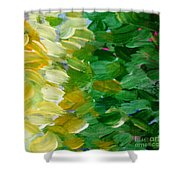 Yellow Green - Abstract Shower Curtain