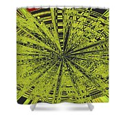 Yellow Green Black Abstract Shower Curtain