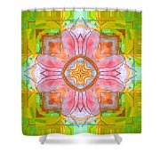 Yellow Green Medallion Shower Curtain