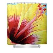 Yellow Hibiscus Shower Curtain