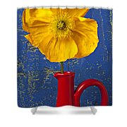 Yellow Iceland Poppy Red Pitcher Shower Curtain